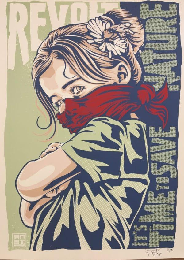 Sérigraphie de l'artiste RNST, It's time to save nature