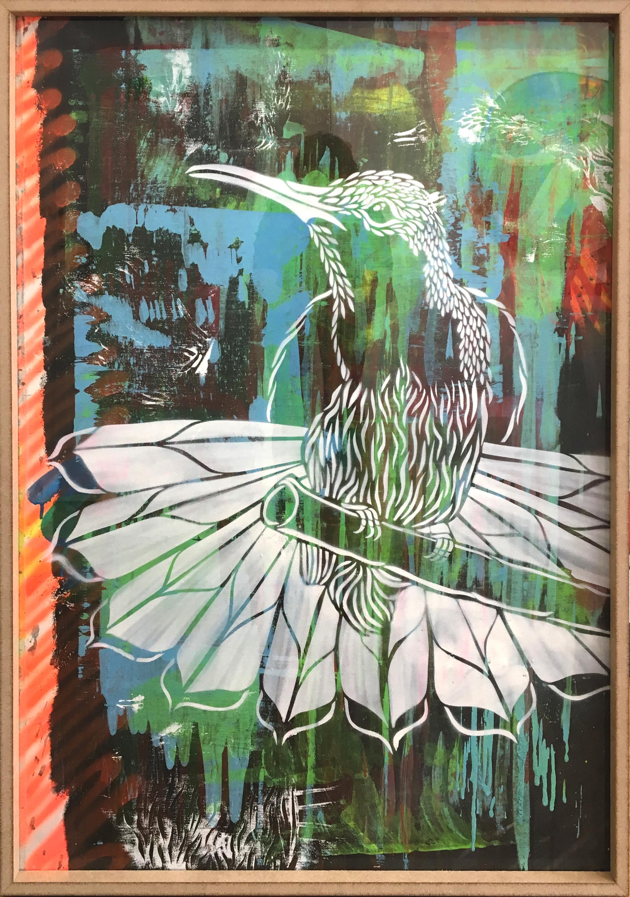 tableau représentant un colibri sur une branche