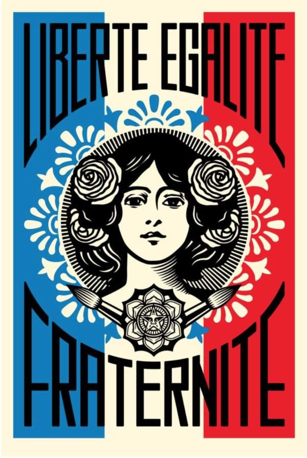 affiche stylisée représentant la Marianne - Liverté Egalité Fraternité